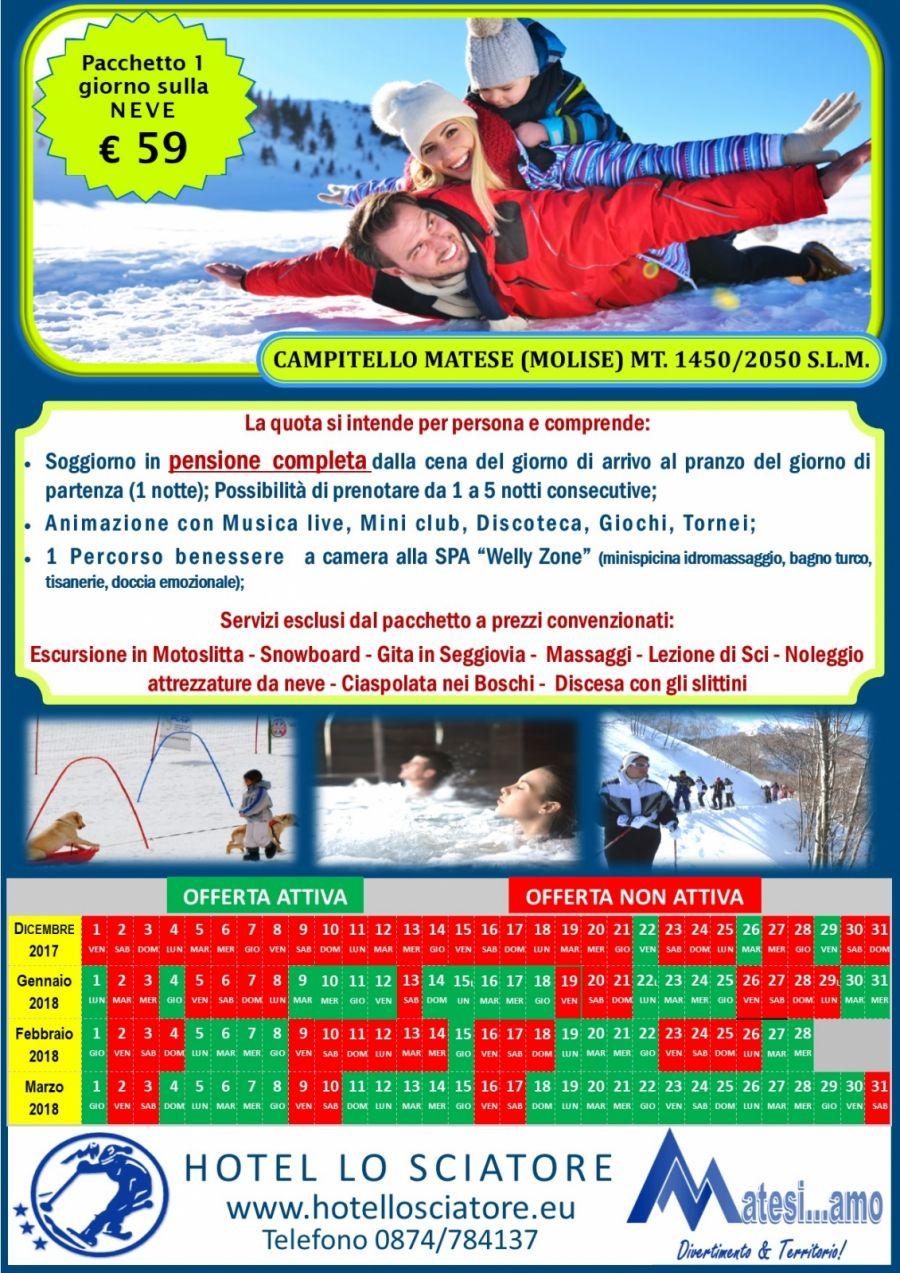 Pacchetto 1 giorno sulla Neve solo 59 €uro.