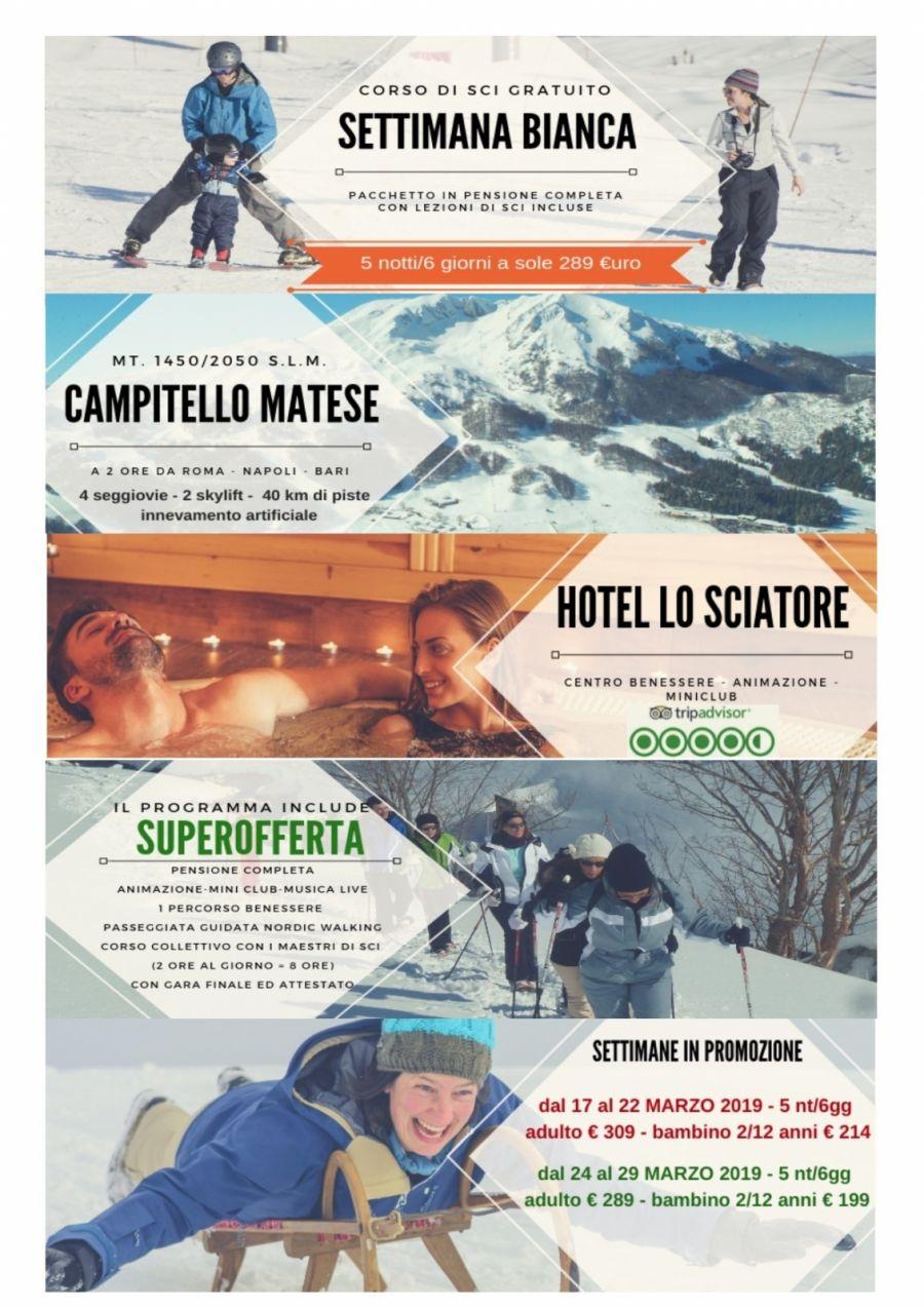 Settimana bianca  promozionale con lezioni di sci Gratuite
