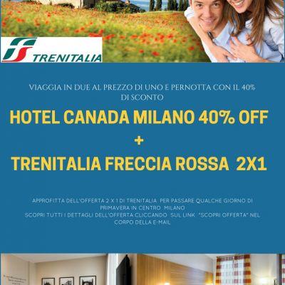 OFFERTA PONTE 25 APRILE MILANO: TRENO 2x1  + HOTEL 40% OFF!
