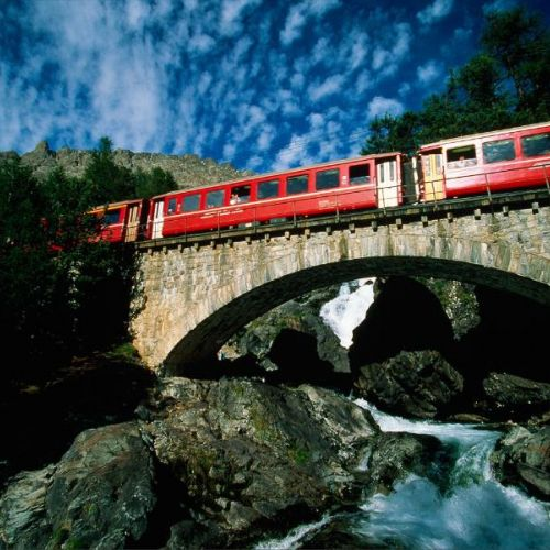 The Red Train of Bernina  on the carriage 2nd class