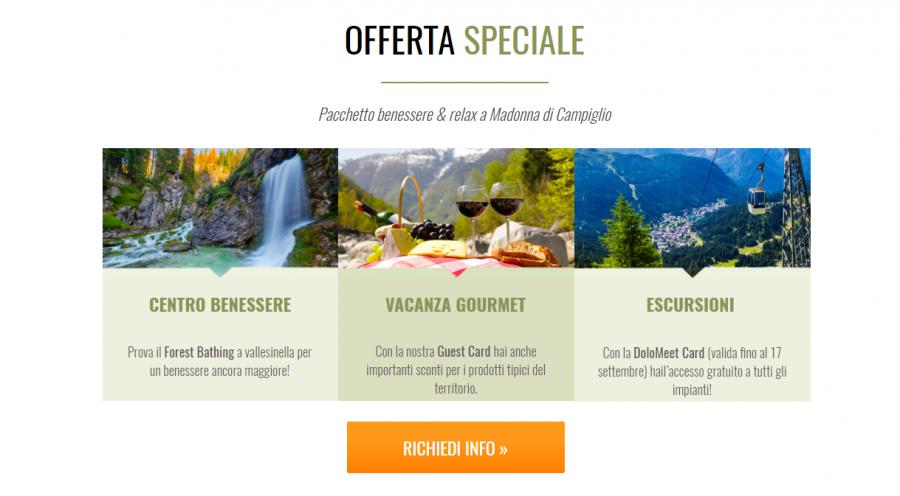 Speciale offerta vacanza a settembre in montagna a Campiglio